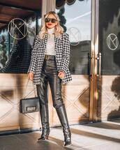 shoes,black boots,knee high boots,crocodile,fendi,platform boots,black leather pants,gucci belt,dior bag,black bag,white turtleneck top,houndstooth,coat