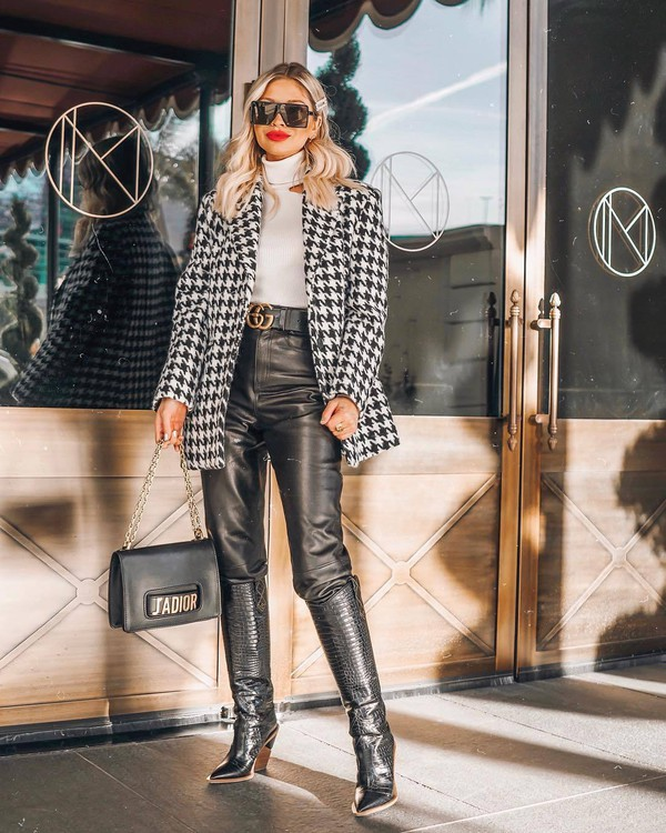 shoes black boots knee high boots crocodile fendi platform boots black leather pants gucci belt dior bag black bag white turtleneck top houndstooth coat