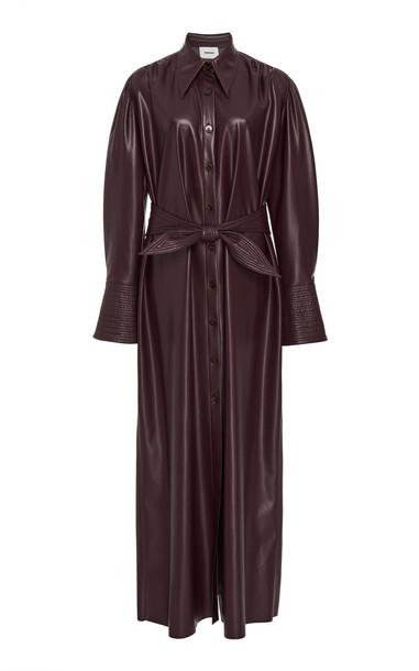 Nanushka Rosana Vegan Leather Button-Front Dress in purple