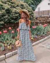 dress,maxi dress,sleeveless dress,bag,hat