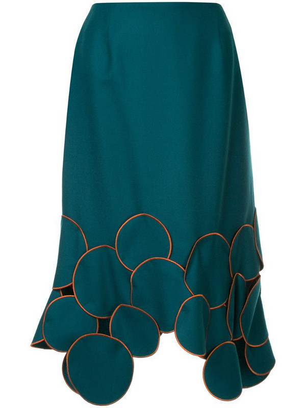 Kolor patchwork trim midi skirt in blue