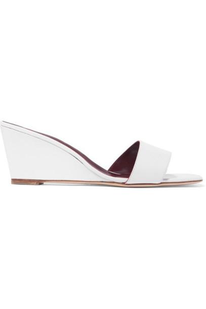STAUD - Billie Leather Wedge Sandals - White
