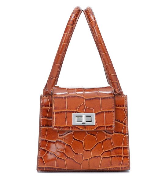 By Far Sabrina croc-effect leather tote in brown