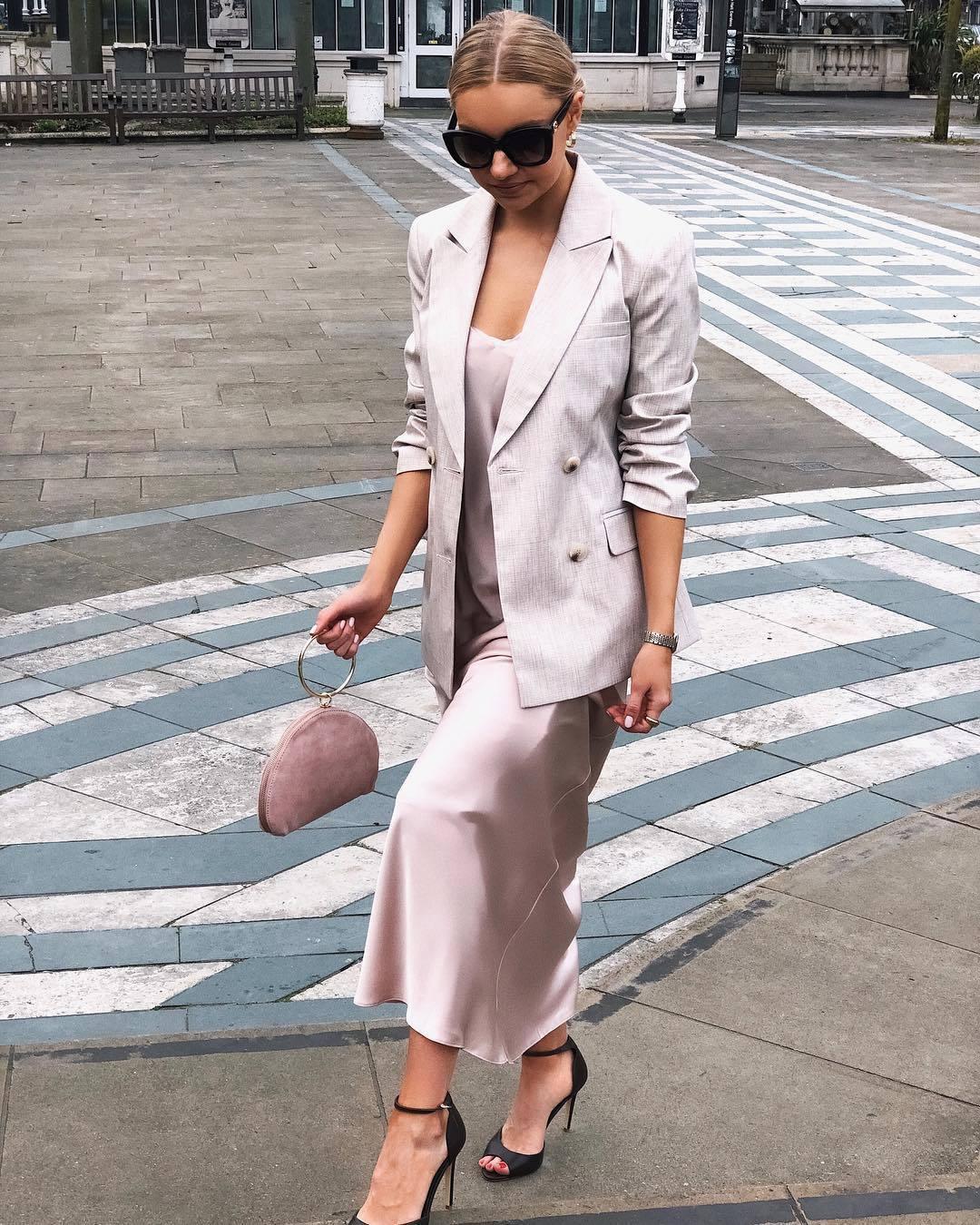 jacket blazer double breasted maxi dress slip dress black sandals handbag sunglasses elegant