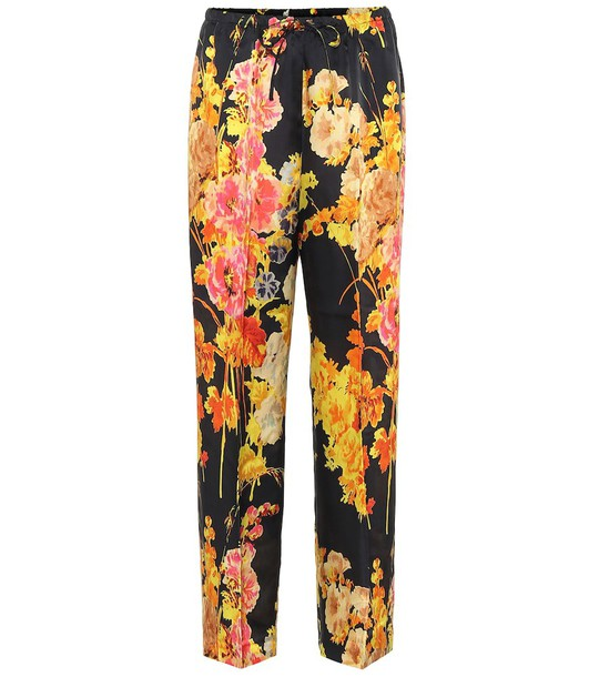 Dries Van Noten Floral satin pants in black