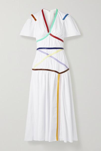 Rosie Assoulin - Criss Cross Applesauce Faux Leather-trimmed Cotton-blend Poplin Midi Dress - White