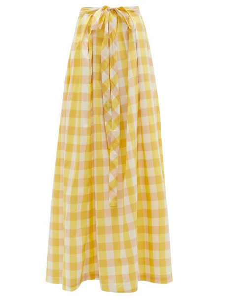 Thierry Colson - Java Pleated Gingham Cotton-blend Skirt - Womens - Yellow Multi