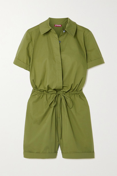 STAUD - Ludo Belted Stretch-cotton Playsuit - Green