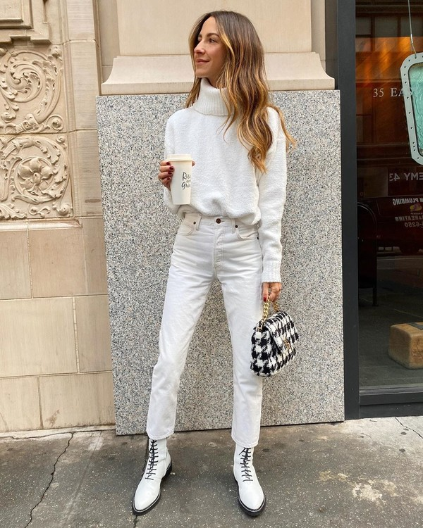 sweater white sweater turtleneck sweater ankle boots white boots white jeans bag