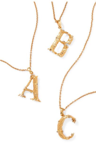 Oscar de la Renta - Letter Gold-plated Crystal Necklace