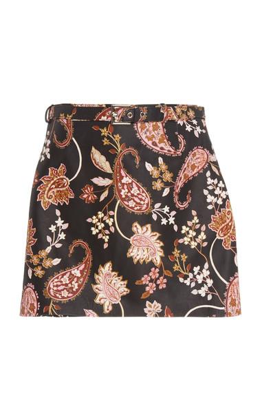 Nour Hammour Ondine Paisley Print Leather Skirt