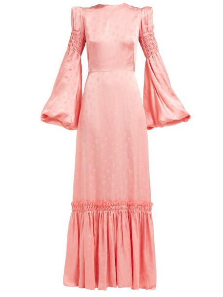 The Vampire's Wife - Cosmo Floral Jacquard Satin Maxi Dress - Womens - Pink
