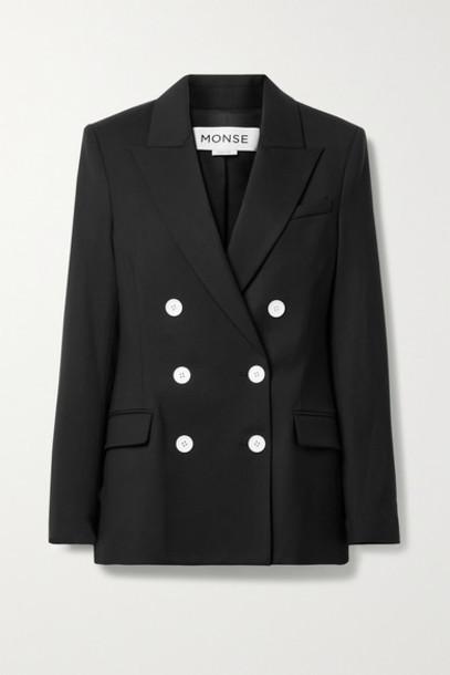 Monse - Cape-effect Double-breasted Wool-blend Twill Blazer - Black