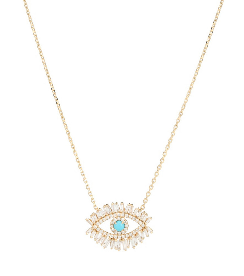Suzanne Kalan Evil Eye Fireworks 18kt gold, turquoise and diamond necklace