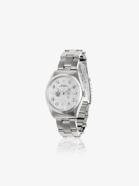 Jacquie Aiche White Vintage Rolex Leaf and Eye Diamond Dial Watch