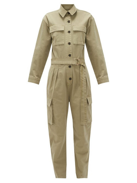 Frame - Safari Belted Cotton-blend Twill Cargo Jumpsuit - Womens - Khaki