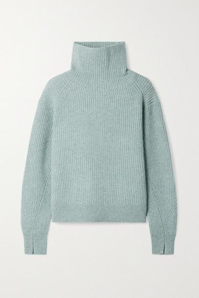 rag & bone - Pierce Ribbed Cashmere Turtleneck Sweater - Teal