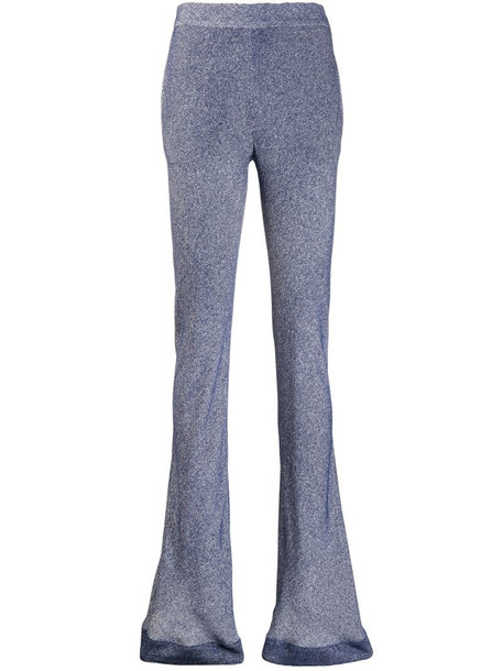 Chloé patterned flared trousers in blue