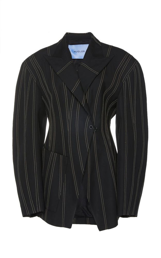 MUGLER Sculpted Spiral-Seam Virgin Wool Jacket in black