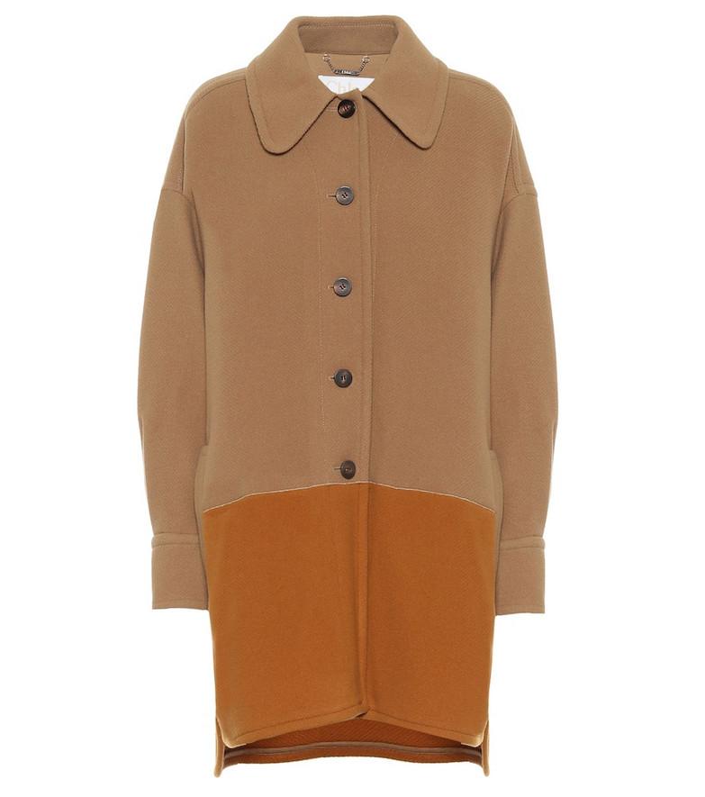 Chloé Colorblocked wool-blend coat in brown