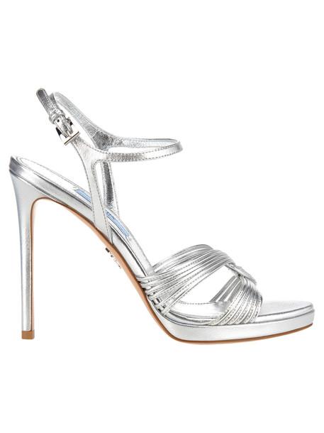 Prada Prada Metallic-toned Stiletto Sandals