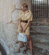 dress,shirt dress,long sleeve dress,h&m,belt,bag,scarf,flat sandals
