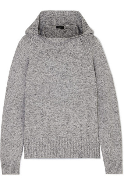 Joseph - Mouline Hooded Mélange Wool Sweater - Gray