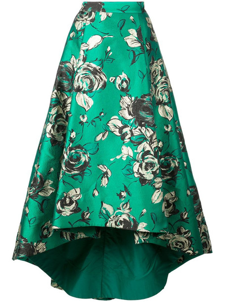 Alice+Olivia asymmetric pleated skirt in green