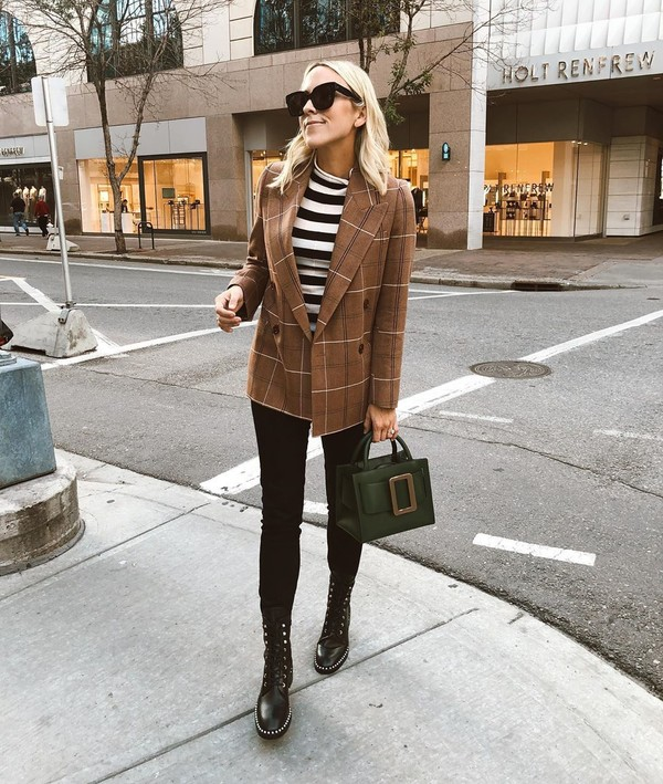 coat double breasted acne studios black boots black jeans skinny jeans handbag striped top