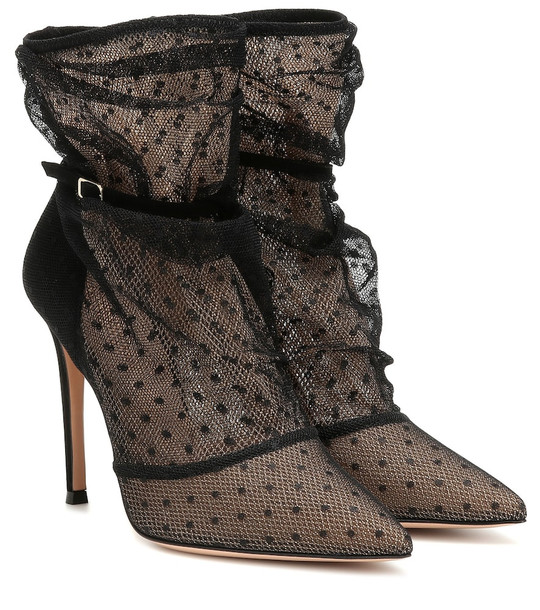 Gianvito Rossi Polka-dot lace ankle boots in black