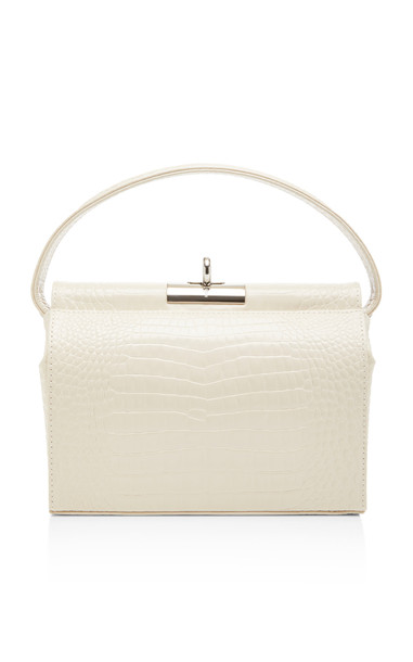 gu de Milky Croc-Effect Leather Top Handle Bag in white