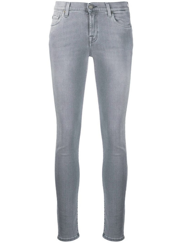 7 For All Mankind faded skinny style jeans in grey