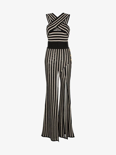 Balmain striped cross strap wide leg jumpsuit in black / neutrals