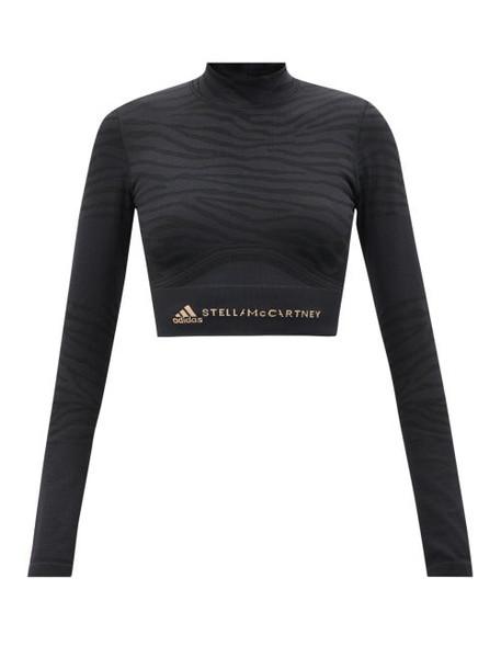 Adidas By Stella Mccartney - Zebra-print Recycled Fibre-blend Crop Top - Womens - Black