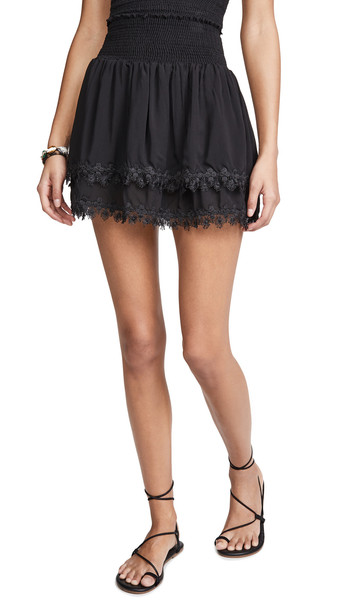 Peixoto Ruffle Miniskirt in black