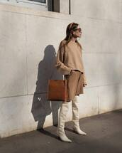 bag,shoulder bag,leather bag,over the knee boots,white boots,knit,shorts,oversized sweater,headband,sunglasses