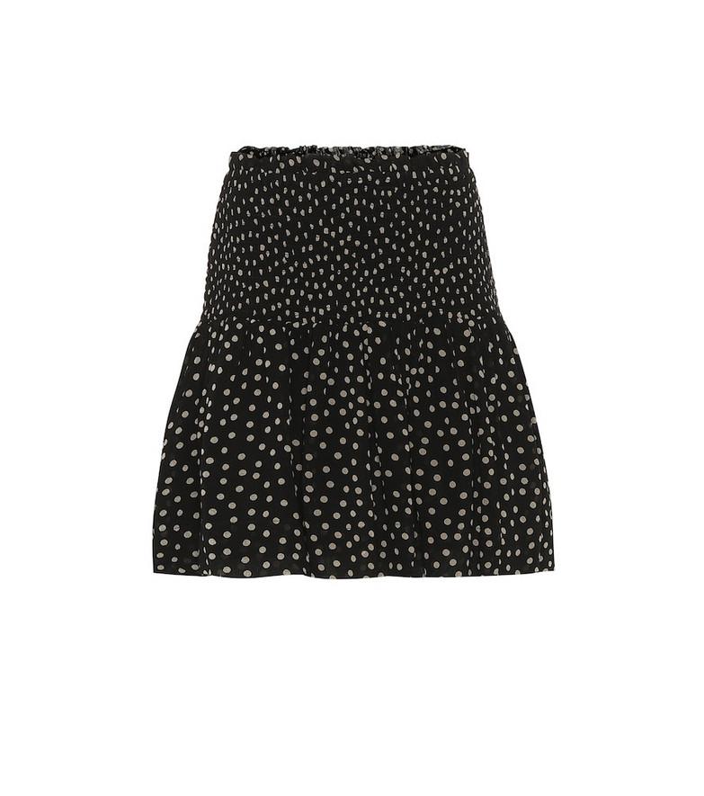 Ganni Polka-dot georgette skirt in black