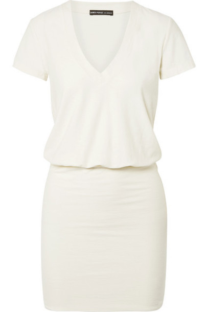 James Perse - Cotton-blend Jersey Mini Dress - Off-white