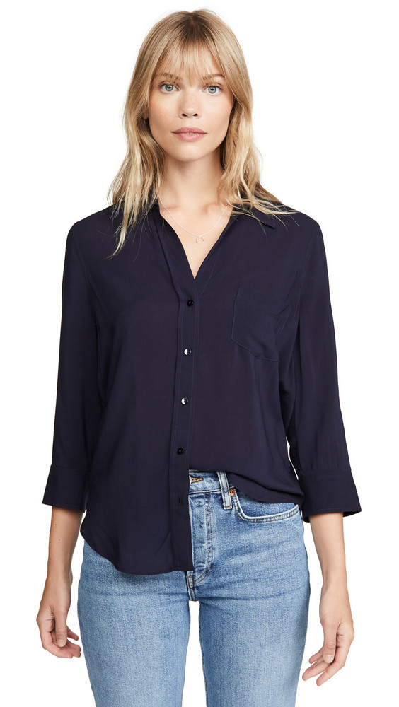 L'AGENCE Ryan 3/4 Sleeve Blouse in midnight