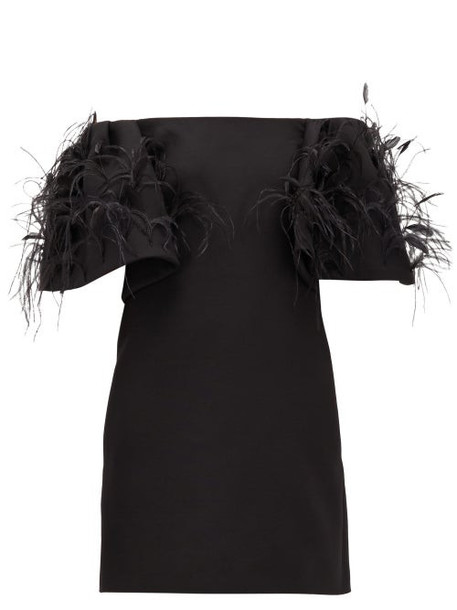 Valentino - Off-the-shoulder Feather-trimmed Wool-blend Dress - Womens - Black
