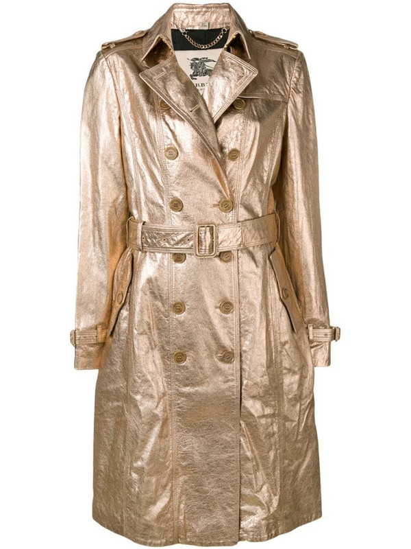 Burberry Pre-Owned 1990s double-breasted metallic coat in gold