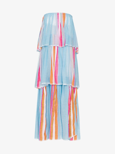 Lemlem Eskedar striped tiered maxi dress in blue