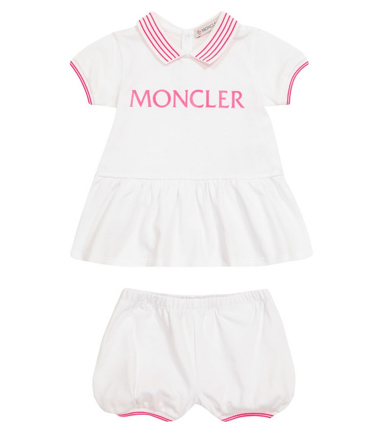 Moncler Enfant Baby logo cotton dress and bloomers set in white