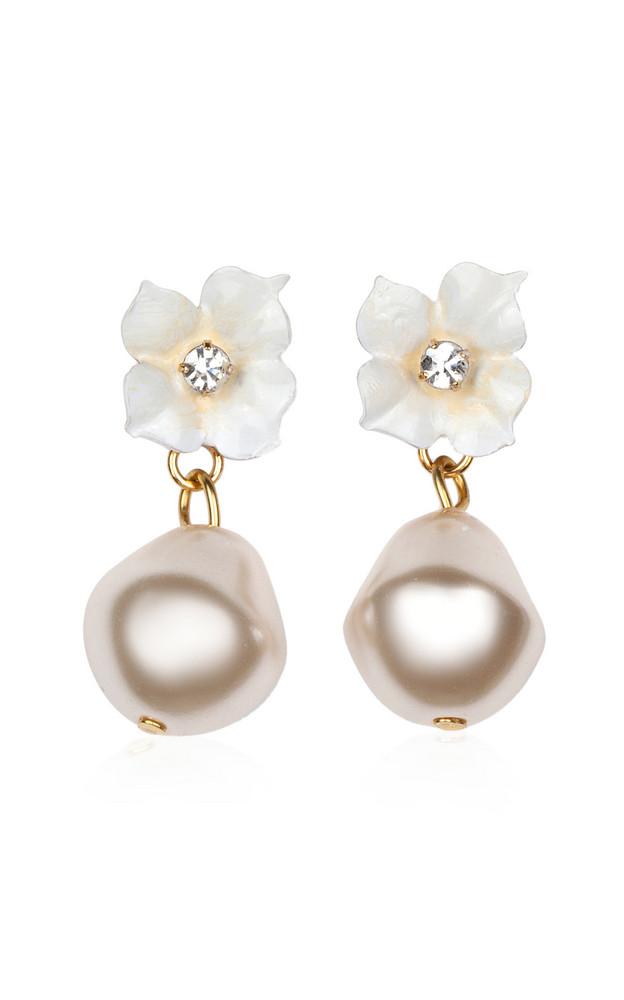 Jennifer Behr Solddad Pearl Drop Earrings in white