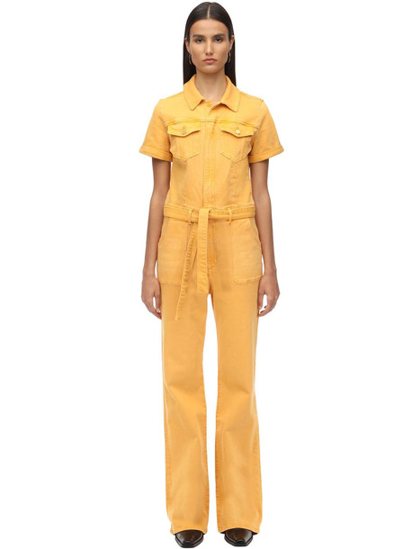 FRAME Le Flare Françoise Flared Denim Jumpsuit in yellow