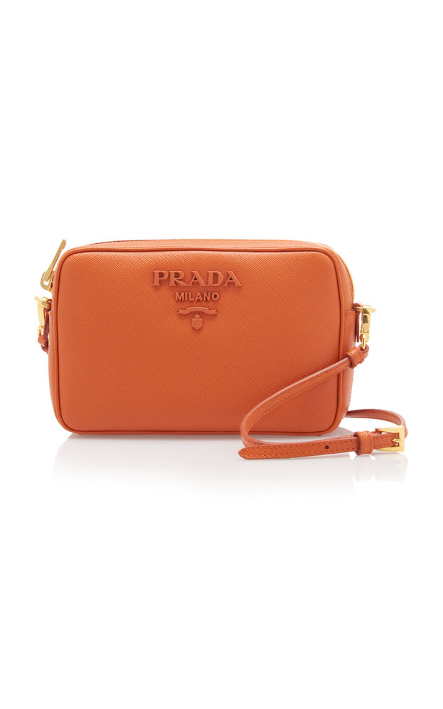 Prada Mini Saffiano Leather Crossbody Bag in orange