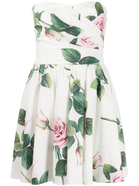 Dolce & Gabbana Tropical Rose print mini dress in white