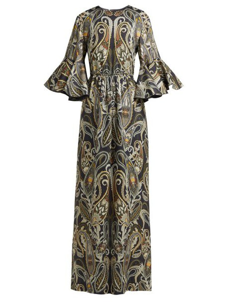 Chloé Chloé - Paisley Print Silk Blend Dress - Womens - Black Multi