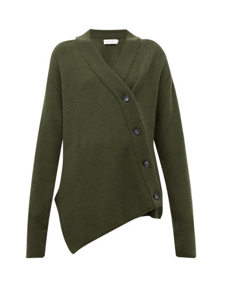 Marques'almeida - Asymmetric Wool Cardigan - Womens - Khaki