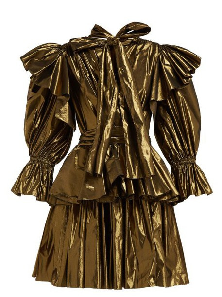 Dolce & Gabbana - Ruffled Lamé Mini Dress - Womens - Bronze